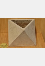 Geometric Cement Pot Beige