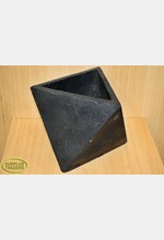 Geometric Cement Pot Black