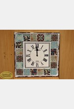Wooden and Tile Wall Clock